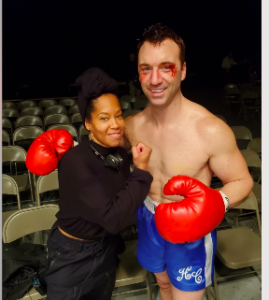 """Regina King poses with ex fighter Sean Monaghan as Henry Cooper during filming of """"One Night in Miami."""""""