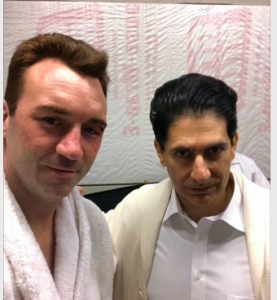 """Sean Monaghan, playing Henry Cooper, poses with Michael Imperioli, who played Angelo Dundee in """"One Night in Miami."""""""
