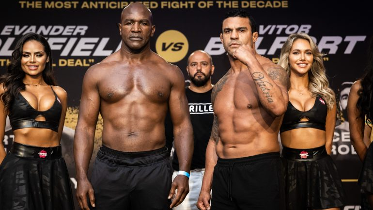 Evander Holyfield gets stopped in first round by former UFC star Vitor Belfort