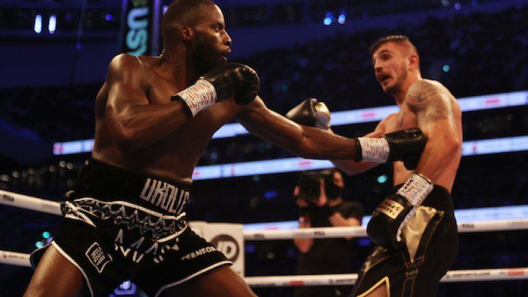 Lawrence Okolie drops Dilan Prasovic twice, scores third-round knockout to retain cruiserweight title