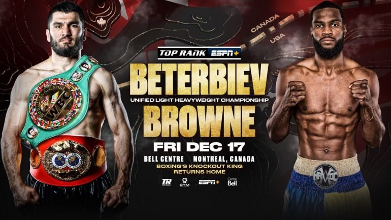 Artur Beterbiev risks his two light heavyweight belts against Marcus Browne on Dec. 17 in Montreal