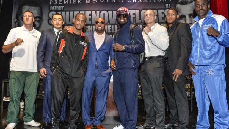 Beibut Shumenov-BJ Flores presser by Idris Erba/Mayweather Promotions