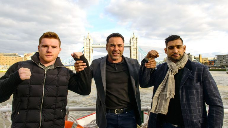 Canelo Alvarez and Amir Khan in London by Martin McNeil – HoganPhotos/GBP