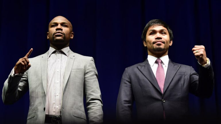 Floyd Mayweather Jr.-Manny Pacquiao presser 3-11-15 by Frederic J. Brown/AFP-Getty Images