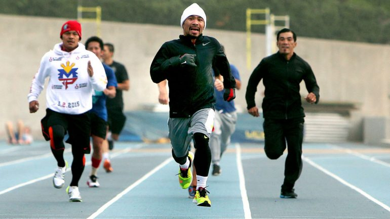 Manny Pacquiao running workout 3-29-15 by Chris Farina